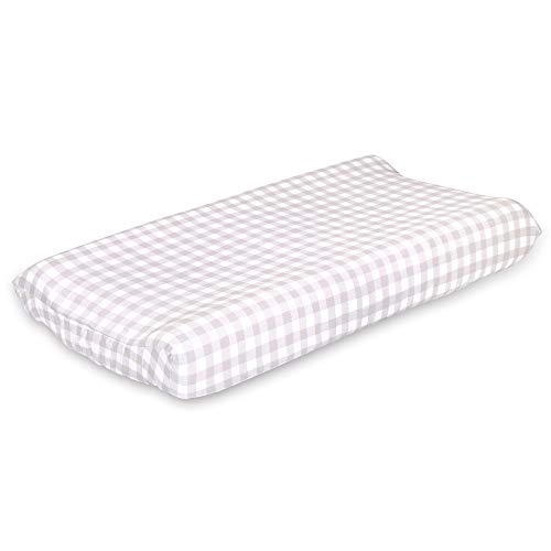 Grey and White Check Baby Changing Pad Cover - Farmhouse Collection by The Peanut Shell