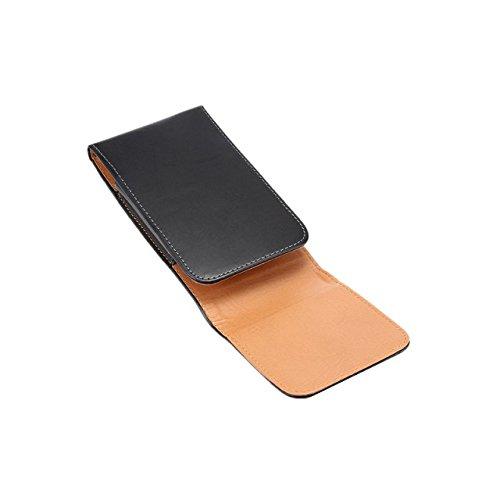 Nero 360 Degree Rotating Custodia Verticale in Vera Pelle 5.5 inch Case, MisVoice Custodia a Marsupio per Smartphones con Aggancio per Cintura - Custodia di Similpelle per Cintura con Passante in Nero