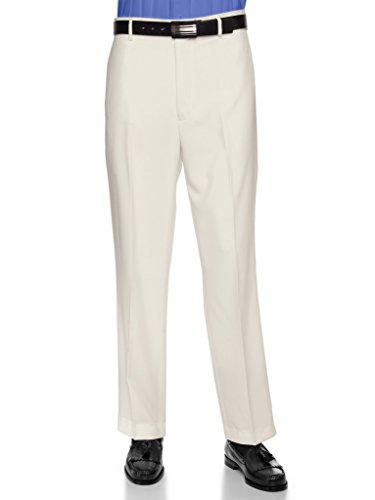 Mens Cream Dress Pants - RGM Men's Flat Front Dress Pant Modern Fit - Perfect for Office, Business and Every Day! Cream 30W x 30L