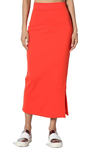 - TheMogan Women's Side Slit Ponte Knit High Waist Mid-Calf Pencil Skirt Orange M