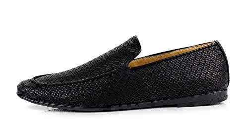 Talla de UK Conducción sin Elegante Negro Moderno Cierres Mocasin Hombre Sobre Jas Detalles Zapatos Mocasines Estampado Casual 6BATw