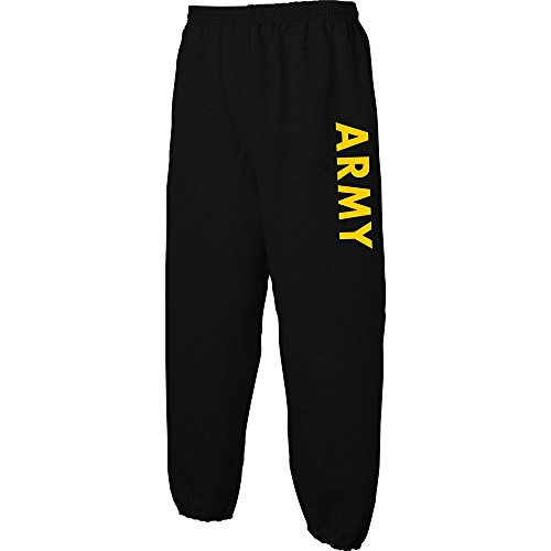 (Black ARMY Sweat Pants with Gold Print, Medium )