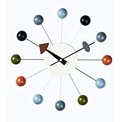 Deluxe Lamp Ball Clock 13 Multi-Color Ball Horology Quartz Wall Clock Silent Battery Nelson Mid Century