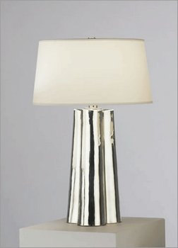 Robert Abbey 435 Lamps with Translucent White Mont Blanc Parchment Shades, Polished Nickel Accented Silver Mercury Glass Finish, 26.25