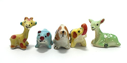 (Ceramic Toy Mini Animals Dollhouse Miniatures Figurine set 5 pcs)