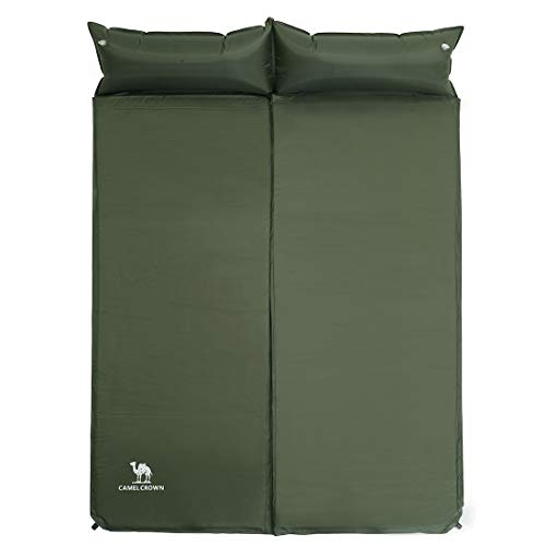 Camel Double Self-Inflating Sleeping Pad with Attached Pillow, Comfortable for 2 Person Camping, Hiking, Backpacking, Beach (Army Green)