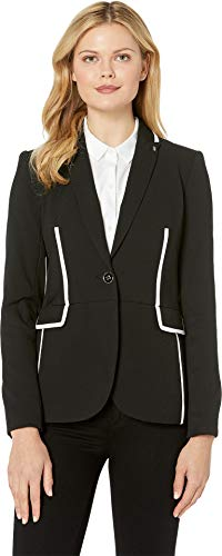 Tommy Hilfiger Women's Textured One-Button Contrast Jacket Black/Ivory 4