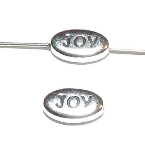 (Pendant Jewelry Making Antiqued Silver Joy Message 11mm Flat Oval Pewter Metal Beads 2pc)