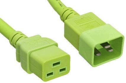 Kentek 2 Ft C19//C20 Extension AC Power Cord 14 AWG 15A Heavy-Duty Server//Network