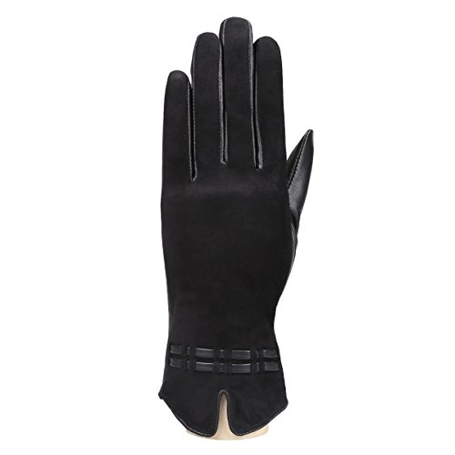 MoDA Women's Ms.Vail Genuine Suede and Leather Fleece Lined Winter Gloves (Leather Suede Fleece)