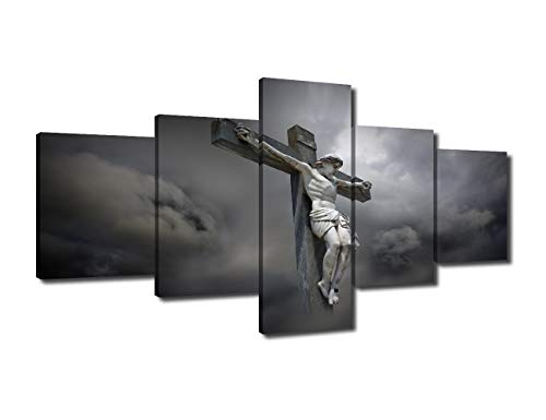 (Black and White Wall Art Religious Panels Jesus 5 Piece Canavs Posters of Christ on the Cross Pictures Painting Artwork Giclee Wooden Framed Gallery-wrapped Stretched Ready to Hang (50''Wx24''H))