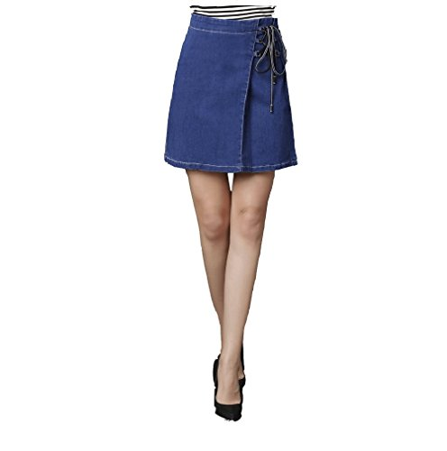 FuweiEncore Femme Jupe Crayon Courte Taille Haute en Jean Mini Jupe Slim avec Cordon Bleu Marin