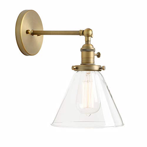 Permo Single Sconce with Funnel Flared Glass Clear Glass Shade 1-Light Wall Sconce Wall Lamp - Wall Sconce Gold Antique