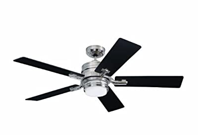 """Emerson CF880BS, Amhurst Brushed Steel 54"""" Ceiling Fan with Light & Wall Control"""