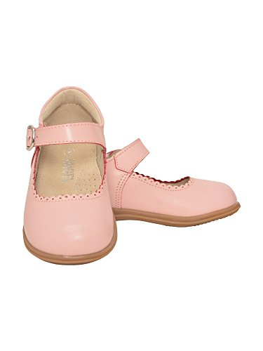 L'Amour Girls Pink Scalloped Trim Leather Mary Jane Shoes 6 Toddler