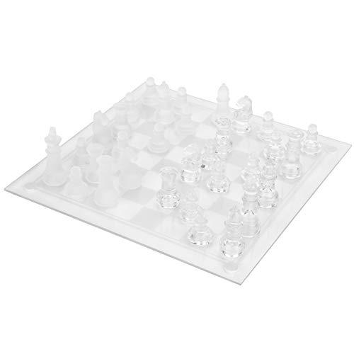 Juego de ajedrez de vidrio, juego de ajedrez internacional de vidrio de alta gama duradero Juego de ajedrez de cristal…