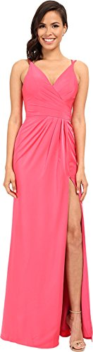 Faviana Women's Satin Faille V-Neck Gown w/ Lightly Rouched Bodice & Delicate Draping On Skirt 7755 Coral Dress 12