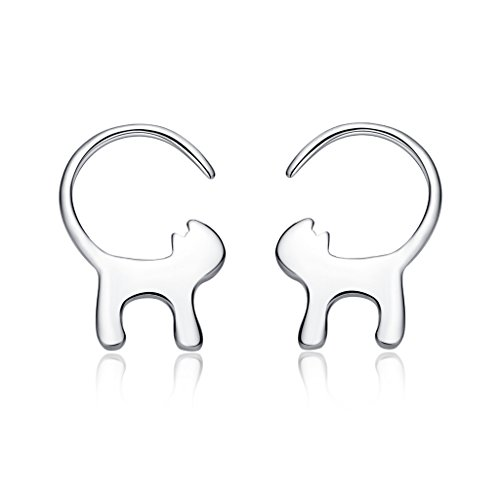 925 Sterling Silver Polished Cat Earrings Hypoallergenic Women Jewelry,Thanksgiving,Christmas Gift