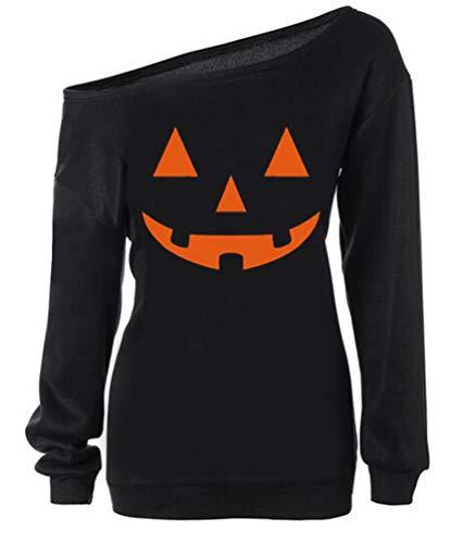 RJXDLT Women Halloween Sweatshirts Off Shoulder Pumpkin Print Long Sleeve Pullover Tops 97 Black XL