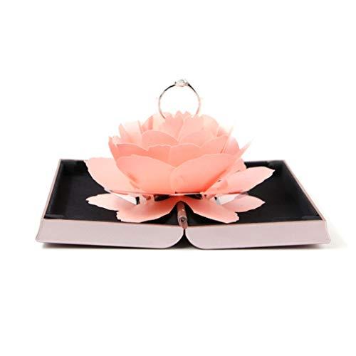 ZTTONE Rose Ring Torage, 3D Pop Up Rose Ring Box Wedding Engagement Jewelry Storage Holder Case Bump (Pink)