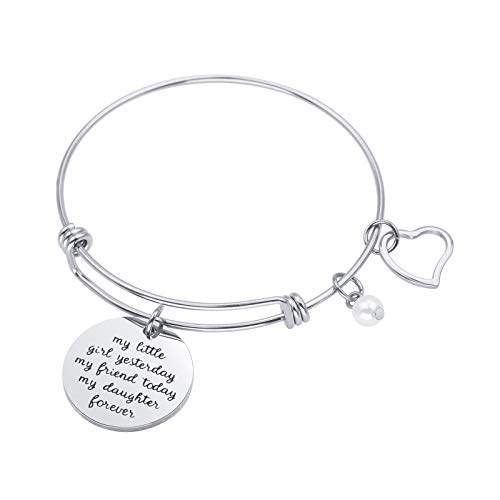 Sunflower Jewellery Charm Bracelet Adjustable Bangle Gift for My Little Girl Yesterday My Friend Today My Daughter Forever