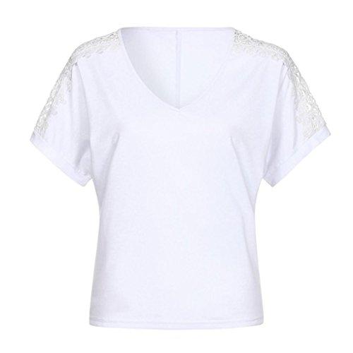 camicetta Top casual Casual Shirts Manica Basic Camicia Scollo Bianco Basic Sysnant V Corta in Tank Donna Donna Maglia Maglietta T Shirt top e Cotone Donna Estiva 1wBTq6Hx