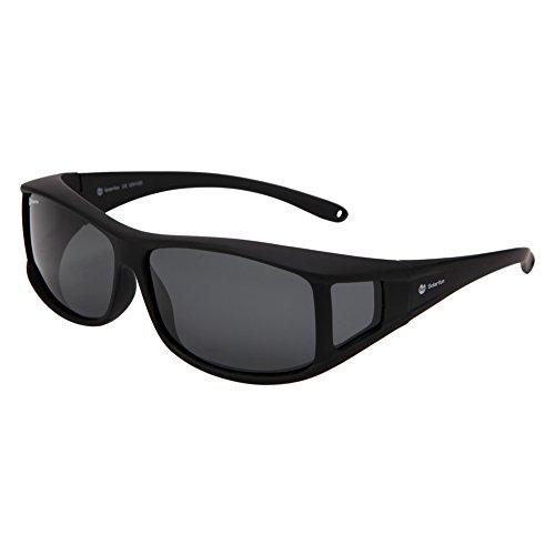 Sunglasses Over Prescription Glasses (Solarfun Polarized Fit Over Glasses Sunglasses Wrap Around Solar Reduce Shield for Men and Women's Driving,Smoke)