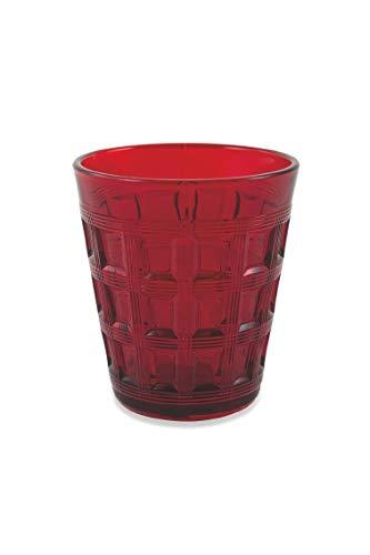 Villa d'Este Home Tivoli 2190920 Set of 6 Straight Water Glasses, Glass, Red by Villa d'Este Home Tivoli