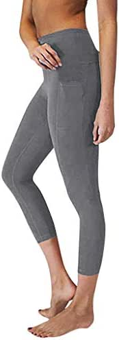 SGMORE ❤ High Waist Yoga Pants, Pocket Yoga Pants Tummy Control Plus Size Workout Running 4 Way Stretch Calf-Length