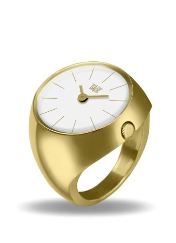 Davis 2006S - Womens Finger Ring Watch Yellow Gold Domed Sapphire Glass White Dial Index baton Size 52 by Davis Instruments