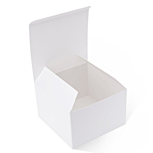 MESHA Recycled Gift Boxes 6x6x4 Inches White Gloss Paper Boxes Kraft Favor Boxes for Party, Wedding, Gift (10) ()