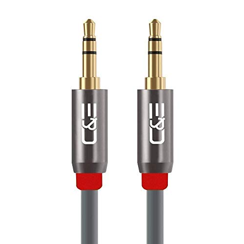 C   E 3.5mm Aux CNE684093 Male to Male Stereo Audio Cable  3 Feet/0.9 Meters   Pack of 2, Gray