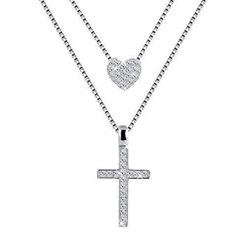 MUATOGIML 925 Sterling Silver Layered Necklace Eternal Love Heart Cross Pendant Jewelry Gifts for Women Girls - Eternal Love Cross