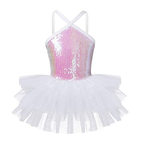 iEFiEL Girls' Halter Sequin Pleated Skirt Ballet Dance Dress Gymnastic Leotard Ballerina Fairy Costume White 4