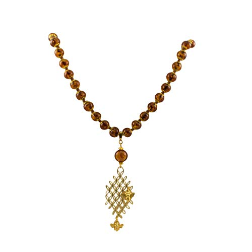 Glass Bead Amber Colored - Just Give Me Jewels Genuine Venice Murano Sommerso Aventurina Glass Bead Long Amber Colored Necklace with Large Gold Plated Pendant and Bee Charms
