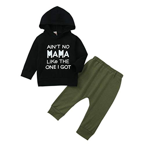 Hailouhai Peuter Baby Jongens Papa's Jongen Kleding Set Lange Mouw Letter Gedrukt Sweatshirt Tops Cool Camouflage Broek…