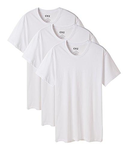T-shirt Crew Relaxed Love (CYZ Men's 3-PK 100% Cotton Crew Neck T-Shirt-White-L)