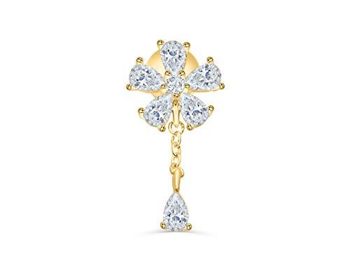 (ONDAISY 14K Gold Plated Simulated Teardrop Diamond Cz Dainty Stainless Steel Flower Leaf Daisy Ear Barbell Ball Stud Earring Piercing For Women Girls)