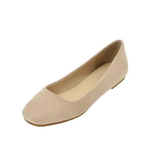 Odomolor Women's Low-Heels Solid Pull-On Frosted Closed-Toe Pumps-Shoes Beige Mv5LnUVIR