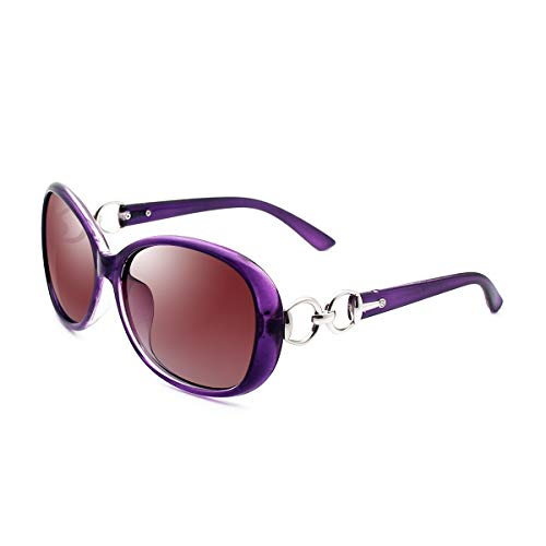 (VeBrellen Luxury Women Polarized Sunglasses Retro Eyewear Oversized Goggles Eyeglasses (Purple Frame Gradient Brown Lens, 60))