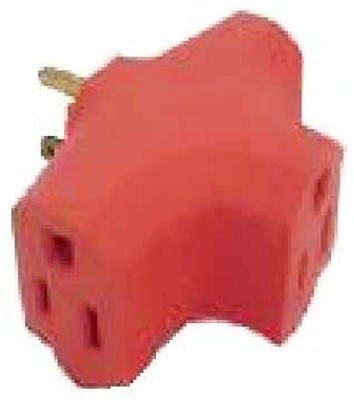 Master Electrician PS37UOGH Heavy Duty Triple Outlet Adapter 15-Amp 125-Volt, Orange
