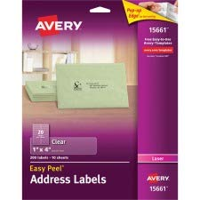 AVERY-DENNISON Easy Peel Mailing Labels For Laser Printers, 1 x 4, Clear, 200/Pack (15661)
