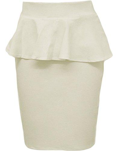 New Womens Flared Waist Peplum Frill Midi Bodycon Pencil Skirts (10, Cream)