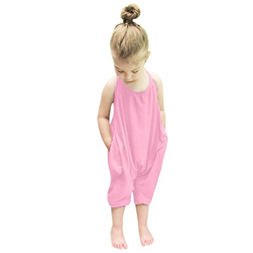 Franterd Baby Girls Straps Rompers, Kid Jumpsuits Piece Pants Clothing (Pink, 2T)