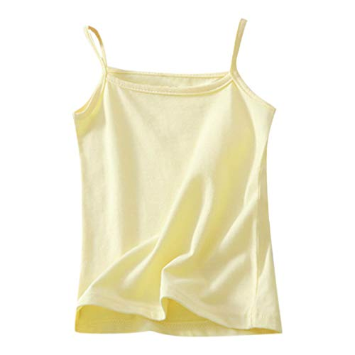ANJUNIE Children Cami Undershirts Soft Camisole Tank Tops Kids Girl Sleeveless Candy Color Vest T-Shirt Undershirt Clothes(1-Yellow,130)