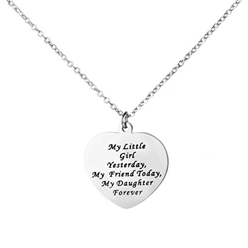 Awegift A Little Girl Yesterday A Friend Today My Daughter Forever Gift for Bride Daughter Jewelry Personalized Bridal Necklace (Bride Daughter My)