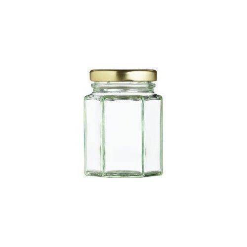 healthcom 6 pcs Mini hexagonal botes de cristal claro Mason tarros de conservas con tapas de oro: Amazon.es: Hogar