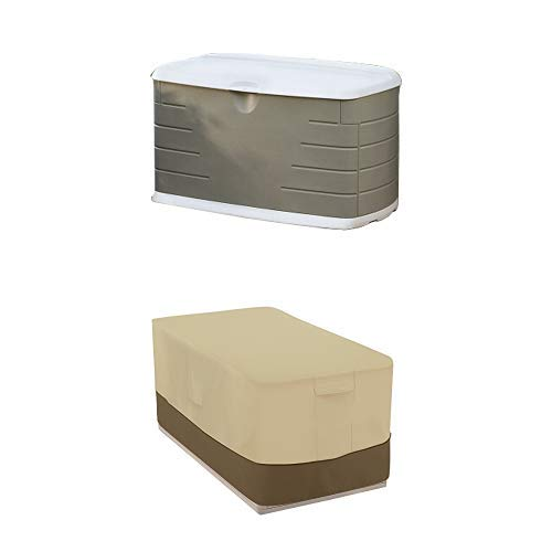 Rubbermaid 2047053 Deck Box, Medium with Deck Box Cover - Durable and Water-Resistant Patio Furniture Cover
