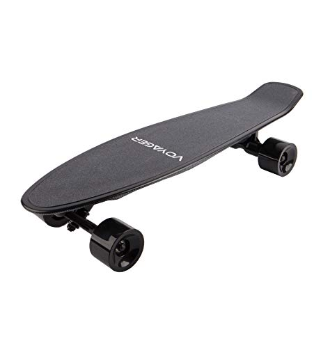 Voyager Neutrino Compact Electric Cruiser Skateboard with Bluetooth Remote, 350W Brushless Motor, 12.5 MPH Max Speed, up to 7 Mile Range (Black)