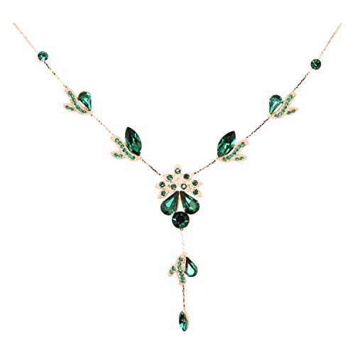 Faship Gorgeous Green Crystal Necklace Earrings Set Wedding Party - Green/Rose Gold Plated